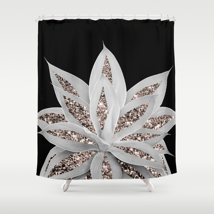 Gray Agave with Rose Gold Glitter #2 #shiny #tropical #decor #art #society6 Shower Curtain