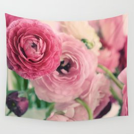 Ranunculus in Pink Wall Tapestry