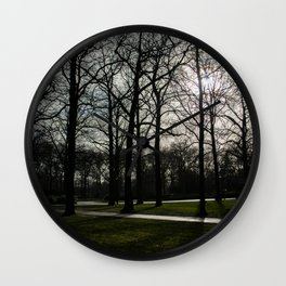 Leafless trees in the park   Landscape photography Wall Clock