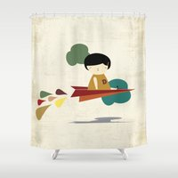 be brave Shower Curtains featuring Brave by yael frankel