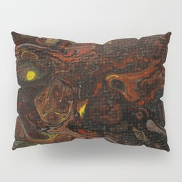 Fluid Art Acrylic Painting, Pour 21, Black, Red, Yellow & Gray Blended Color Pillow Sham