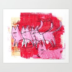 A clowder of cats Art Print