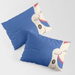 Blue Lucky Cat Maneki Neko Pillow Sham
