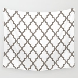 Moroccan Quatrefoil Pattern: Neutral Brown Wall Tapestry