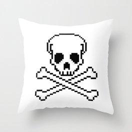 Pixel Skull And Crossbones. Throw Pillow