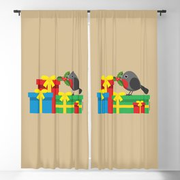 Cute Robin And The Four Colorful Gifts Blackout Curtain