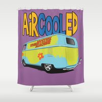 vw bus Shower Curtains featuring VW Camper Drag Bus by VelocityGallery