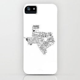 Texas - Hand Lettered Map iPhone Case