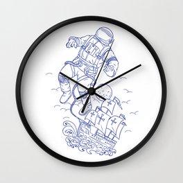 Astronaut Tethered Caravel Ship Drawing Wall Clock