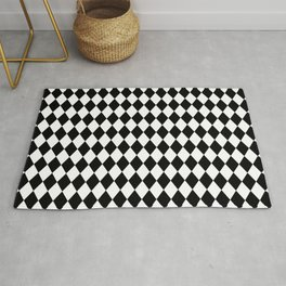 Classic Black and White Harlequin Diamond Check Rug