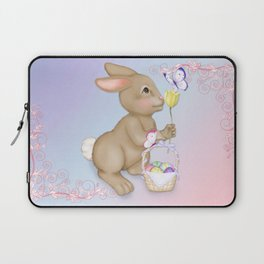 Brown Bunny and Basket Laptop Sleeve