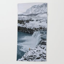 Waterfall in Icelandic highlands during winter with mountain - Landscape Photography Beach Towel