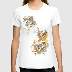 fox in foliage White Womens Fitted Tee MEDIUM