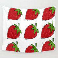 strawberry Wall Tapestries featuring StrawBerry by neken