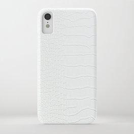 White Crocodile Realistic Skin Print iPhone Case
