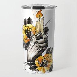 Hand holding CANDLE - tattoo Travel Mug