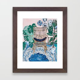 Wicker Chair and Delft Plates in Jungle Room Framed Art Print