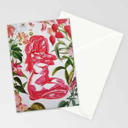 Feminine Vulnerability and Pink Flowers Stationery Cards