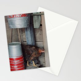Chicken Behind Farm Pails Stationery Cards