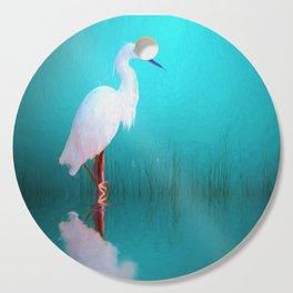 Egret in teal Cutting Board
