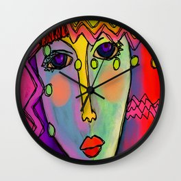 Colorful Abstract Digital Painting of a Woman Wall Clock