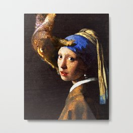 Girl with the pearl earring squirrel photo bomb Metal Print