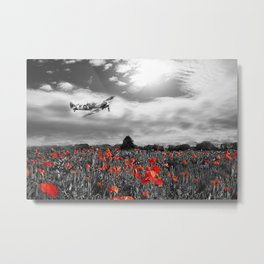 Spitfire Field Of Red Metal Print