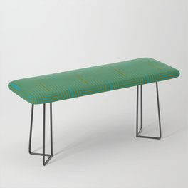Doors & corners op art pattern in olive green and aqua blue Bench