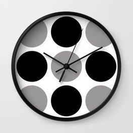 Mid Century Modern Polka Dot Pattern 9 Black and Gray Wall Clock