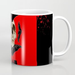BAT INFESTED HAUNTED SKULL ON BLEEDING RED ON RED  ART Coffee Mug