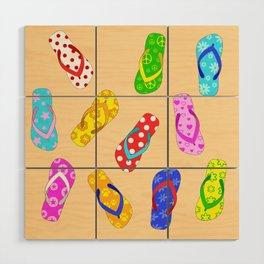 Flip Flops Pattern Wood Wall Art