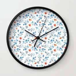 Hand painted watercolor orange pastel blue floral Wall Clock