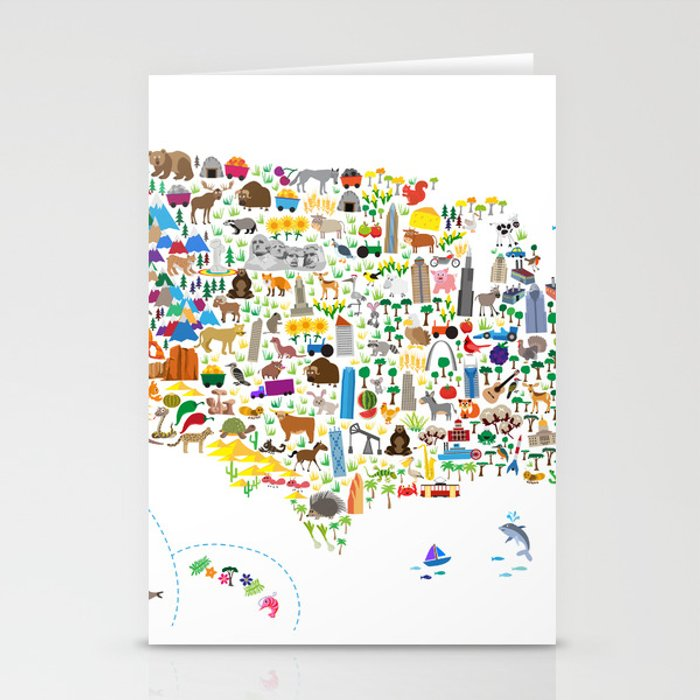 Animal Map of United States for children and kids Stationery Cards by  artpause
