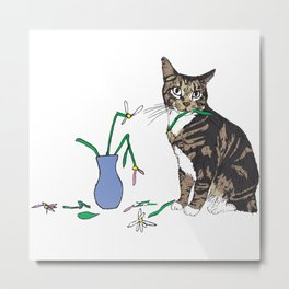 Cat Destroyed Flowers Metal Print