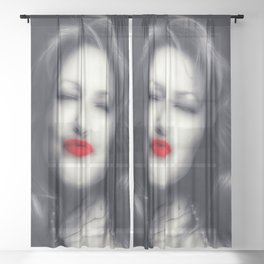 Lips - Graphic 1 Sheer Curtain