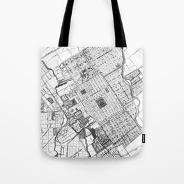 Vintage Map of San Jose California (1886) BW Tote Bag