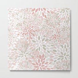 Festive, Floral Prints, Coral, Blush, Beige, Modern Print Art Metal Print