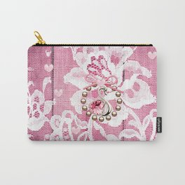 Elegant Lace Hearts and Swan Carry-All Pouch