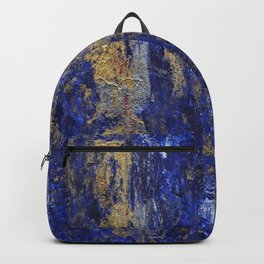 """""""Soul"""" Abstract textured art in blue & gold Backpack"""