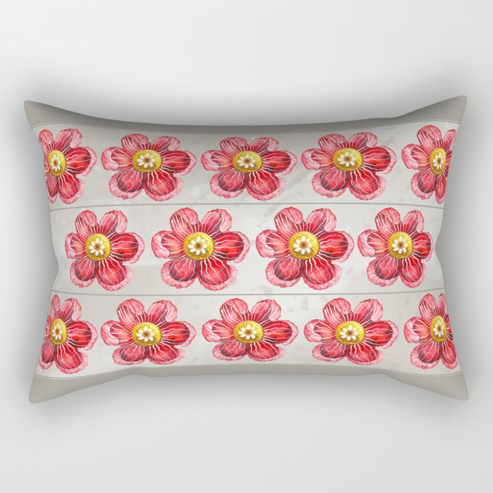 Red on Brown Rectangular Pillow