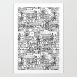 Edinburgh toile black white Art Print