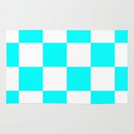 Large Checkered - White and Aqua Cyan Rug
