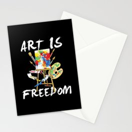Art Is Freedom - Colorful Paint Tools Artist Painter Illustration Stationery Cards