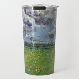 Meadow With Flowers Under a Stormy Sky Travel Mug