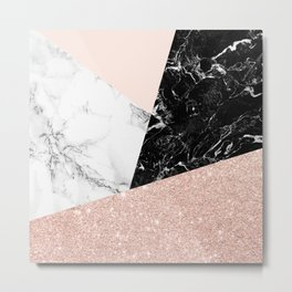 Black white marble blush pink rose gold glitter color block Metal Print