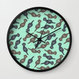 Happy Cute Otters Wall Clock