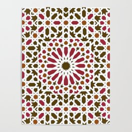 -A1- Red Traditional Moroccan Zellij Artwork. Poster