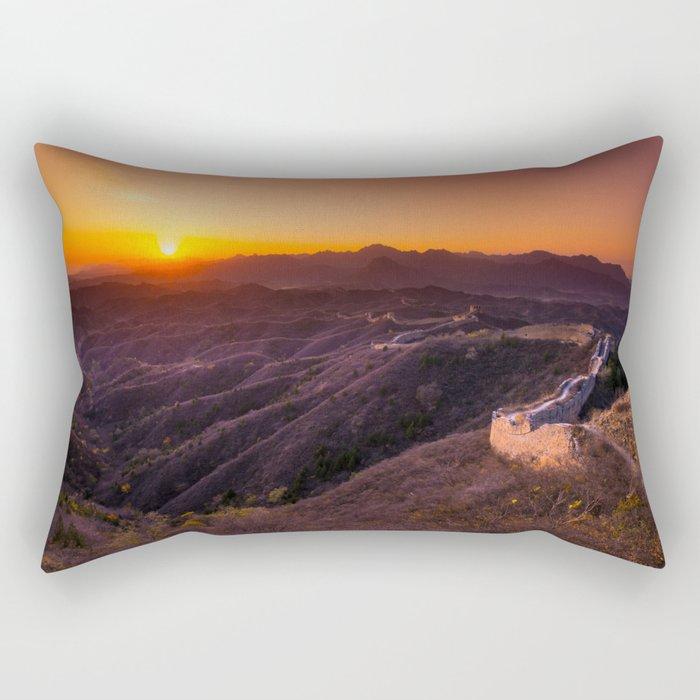 Great wall sunset Rectangular Pillow