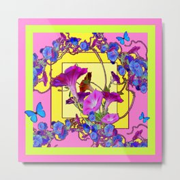 Blue Morning Glories Butterfly Yellow Patterns Pink Art Metal Print