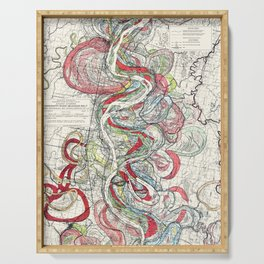 Beautiful Vintage Map of the Mississippi River Serving Tray